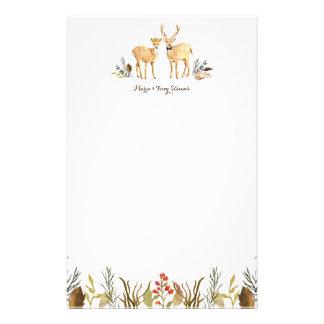 Rustic Boho Woodland Deer Couple Watercolor Stationery