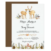 Rustic Boho Woodland Deer Watercolor Wedding Card