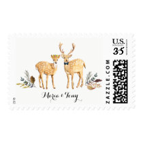 Rustic Boho Woodland Deer Watercolor Wedding Postage