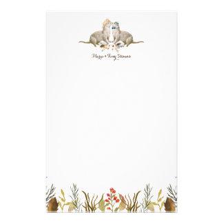 Rustic Boho Woodland Otter Watercolor Wedding Stationery