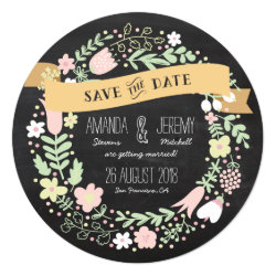 Rustic Boho Wreath Chalkboard Photo Save the Date