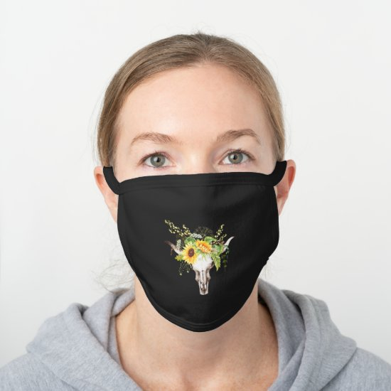 Rustic Boho Yellow Sunflowers Greenery Cow Skull Black Cotton Face Mask