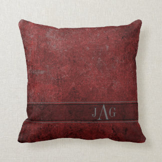 Rustic Book Cover Cushion In Burgundy Red