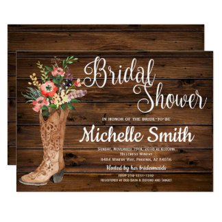 Rustic Boot Country Bridal Western Bridal Shower Card