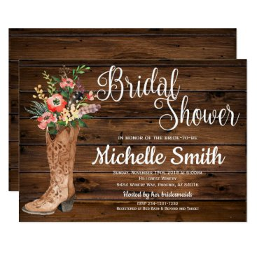 GlamtasticInvites Rustic Boot Country Bridal Western Bridal Shower Card