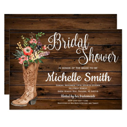 4c6b14fa48c Rustic Boot Country Bridal Western Bridal Shower Invitation