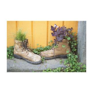 Rustic Boot Planters Canvas Print