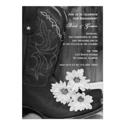 Rustic Boots and Daisies Country Engagement Party Custom Announcements