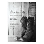 """Rustic Boots Country General Party Invitation 5"""" X 7"""" Invitation Card"""