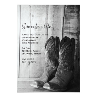 "Rustic Boots Country General Party Invitation 5"" X 7"" Invitation Card"