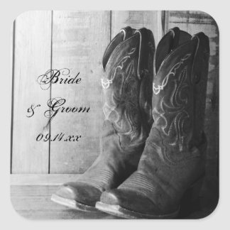 Rustic Boots Country Wedding Envelope Seals Square Sticker
