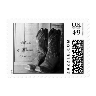 Rustic Boots Country Wedding Postage Stamp