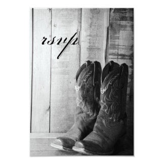 "Rustic Boots Country Wedding Response Card 3.5"" X 5"" Invitation Card"