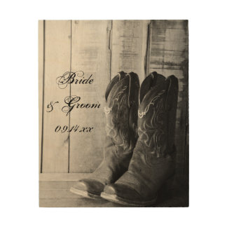 Rustic Boots Country Wedding Wood Canvas