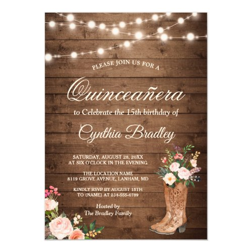 Rustic Boots Cowgirl Quinceaera 15th Birthday Invitation