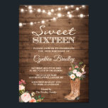 "Rustic Boots Cowgirl Sweet Sixteen 16 Invitation<br><div class=""desc"">Rustic Boots Cowgirl Sweet Sixteen 16 Invitation Template. (1) For further customization, please click the ""customize further"" link and use our design tool to modify this template. (2) If you prefer Thicker papers / Matte Finish, you may consider to choose the Matte Paper Type. (3) If you need help or...</div>"