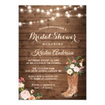 Rustic Boots Cowgirl Western Bridal Shower Card