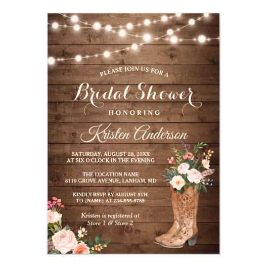 Rustic Boots Cowgirl Western Bridal Shower Invitation Zazzlecom