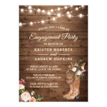 Rustic Boots Floral String Lights Engagement Party Invitation