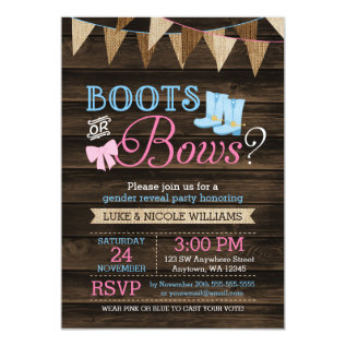 Rustic Boots Or Bows Gender Reveal Baby Shower Card at Zazzle