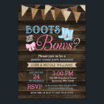 "Rustic Boots or Bows Gender Reveal Baby Shower Invitation<br><div class=""desc"">Rustic boots and bows gender reveal party invitations. A unique country themed gender reveal invite,  featuring a burlap bunting banner,  pink bow and pair of blue cowboy boots on a barn wood background.</div>"