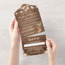 Rustic Boots Western Country String Lights Wedding All In One Invitation