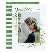 Rustic Botanical Border Save the Date Card