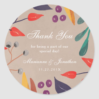 Rustic Botanical Fall Wedding Thank You Stickers