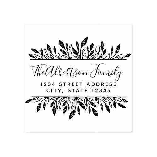 Rustic Botanical Family Name Return Address Rubber Stamp