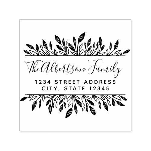 Rustic Botanical Family Name Return Address Self_inking Stamp