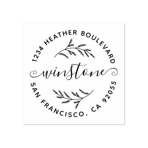 Rustic Botanical Family Name Round Return Address Rubber Stamp