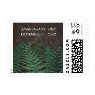 Rustic Botanical Fern Country Wedding Stamps