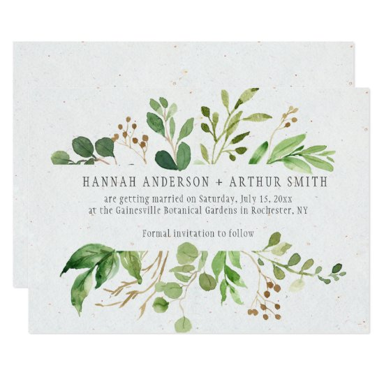 Rustic Botanical Frame Save The Date Invitations |