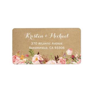 Rustic Botanical Garden Floral Kraft Wedding Label