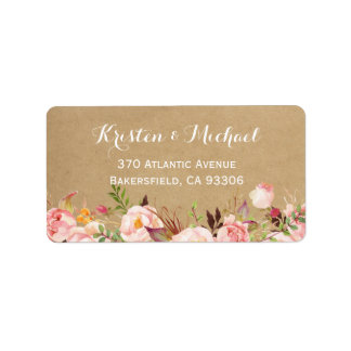 Rustic Botanical Garden Floral Kraft Wedding Label
