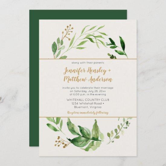 Rustic Botanical Greenery Wreath Gold Buds Wedding Invitation