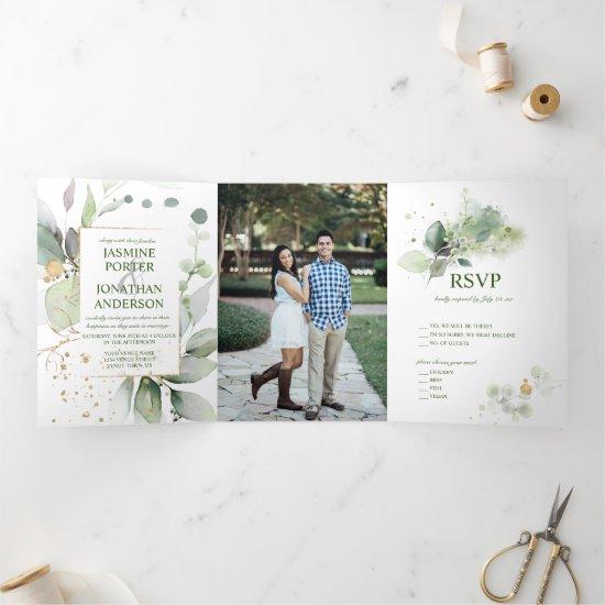 Rustic Botanicals Greenery & Gold Photo Wedding Tri-Fold Invitation