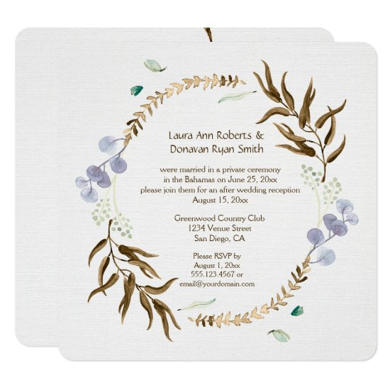 Rustic Botanicals Wreath Reception Only | Invitation