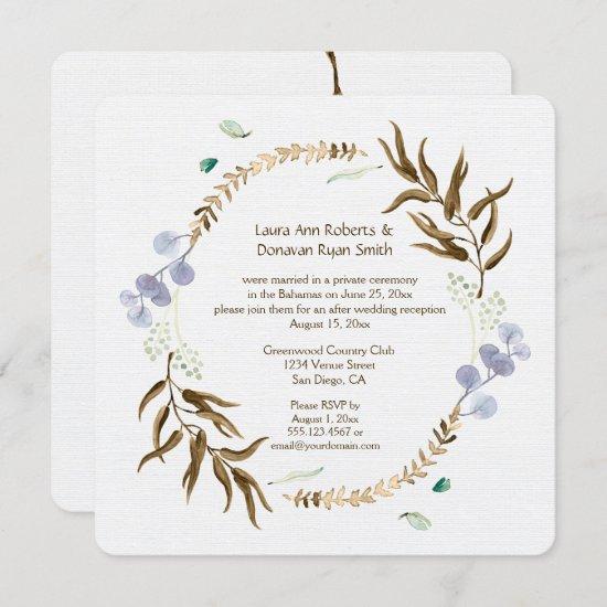 Rustic Botanicals Wreath Reception Only | Invitation