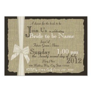 Rustic Bow and Burlap Bridal Shower 5x7 Paper Invitation Card