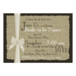 Rustic Bow and Burlap Bridal Shower Personalized Invites