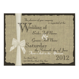 Rustic Bow and Burlap Wedding 7.5 in. Card