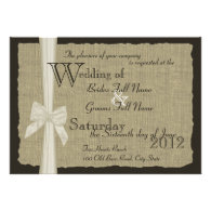 Rustic Bow and Burlap Wedding Custom Announcements