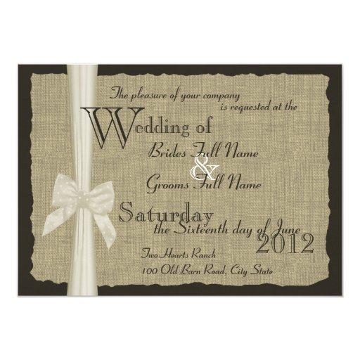 Rustic Bow and Burlap Wedding Custom Announcements