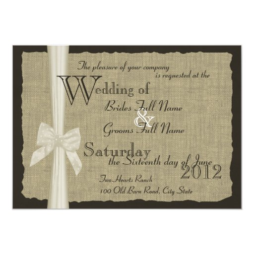 Rustic Bow and Burlap Wedding 5x7 Paper Invitation Card