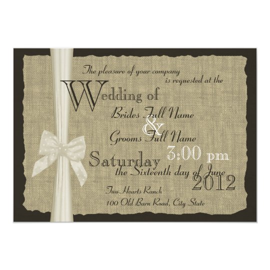 Burlap Invitations Wedding: Rustic Bow And Burlap Wedding Invitation