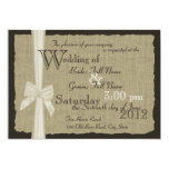 Rustic Bow and Burlap Wedding Invitation