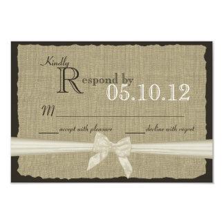 Rustic Bow and Burlap Wedding Response 3.5x5 Paper Invitation Card