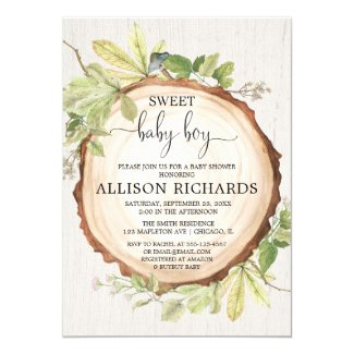 Rustic boy baby shower, woodland forest invitation
