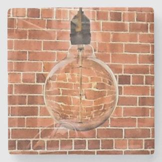Rustic Brick & Vintage Light Bulb Marble Coaster
